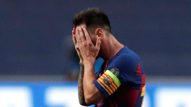 Ekspresi sedih Lionel Messi usai Barcelona dibantai Bayern Munich