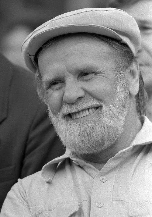 In this undated handout photo provided by PhotoSoyuz, Russian writer Vasily Belov smiles. Belov died on Tuesday Dec. 4, 2012 at the age of 80. Belov, who published dozens of books that sold millions of copies, poeticized the customs and habits of the old, rural Russia. He strongly opposed urbanization and defended Russia's routes and traditions. (AP Photo/PhotoSoyuz, Vladimir Bogdanov)