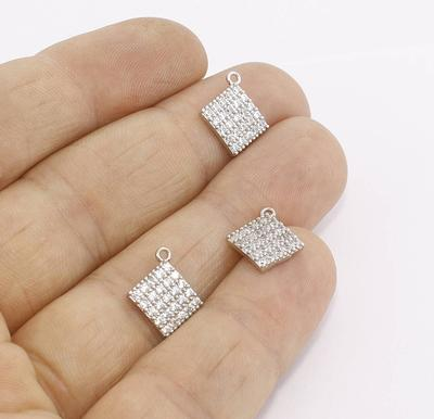 5-20pcs Clear cubic zircon micro pave small charms,fashion cz jewelry component pendant,plating cz jewelry pendant