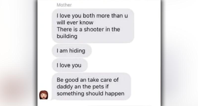 Alexi Scharmann's mother sent text message from inside the Maryland Rite Aid warehouse where the shooting happened.
