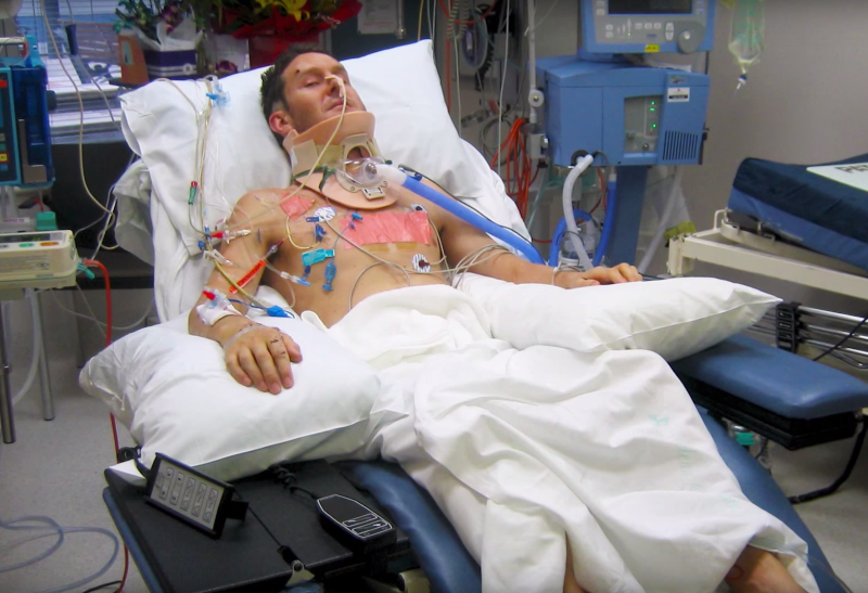 Photo of Mr Forbes in hospital after an accident in Melbourne in 2008 which left him a quadriplegic.