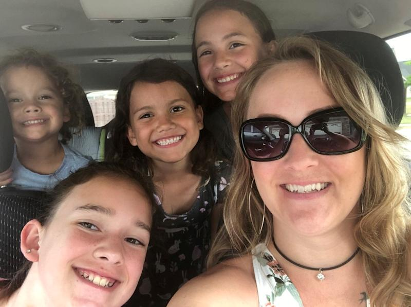 Mum Greta Zarate, 31, with four of her five children