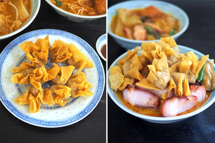 The fried 'wantans' are a great addition to your curry 'laksa' (left). If you want to create one of those fully-loaded bowls of curry 'laksa', it's possible by adding chicken, 'char siu' and fried 'wantans' (right)