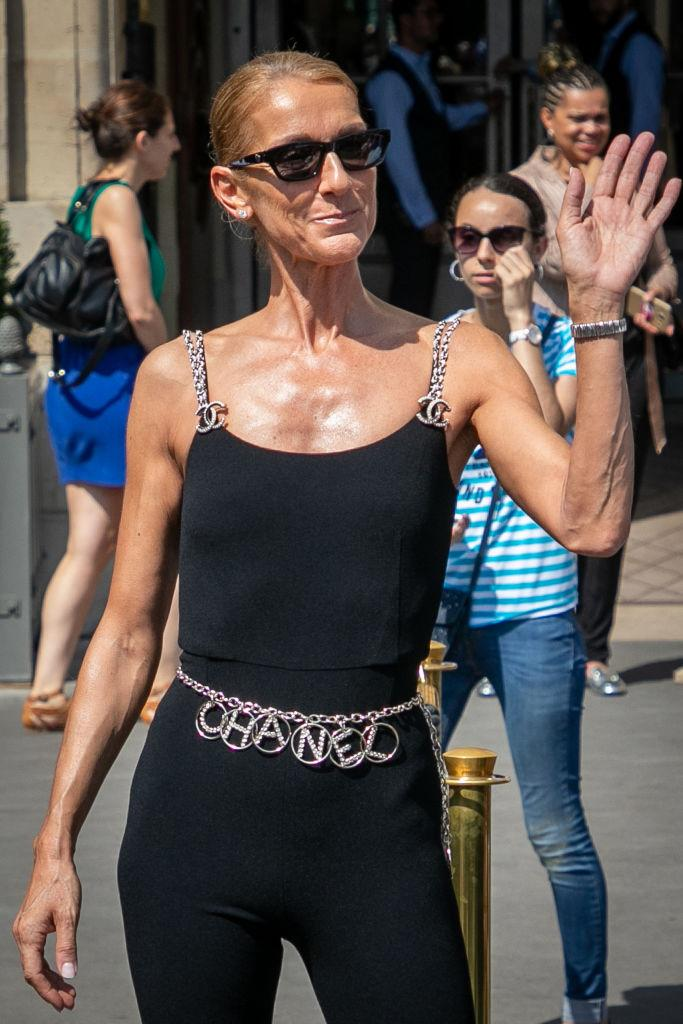 A photo of singer Celine Dion wearing a black Chanel bodysuit in Paris, France.