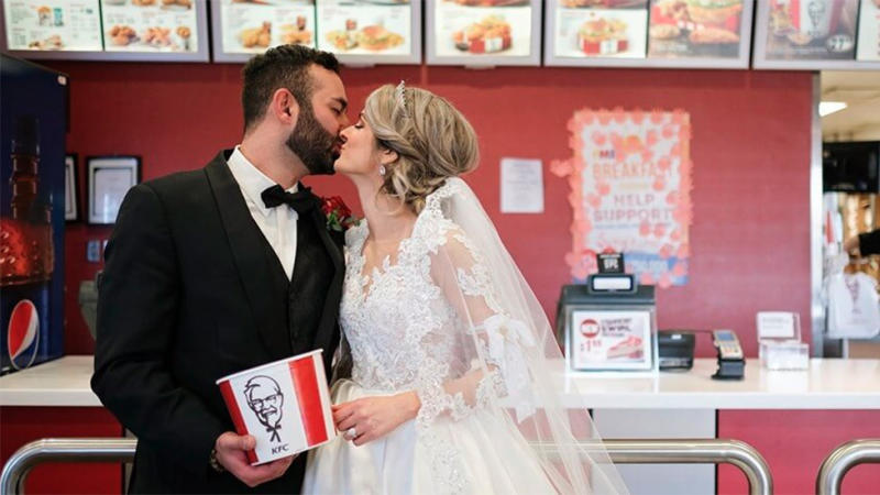 Six lucky couples will celebrate their nuptials with the world's most famous fried chicken to mark the occasion. Photo: KFC