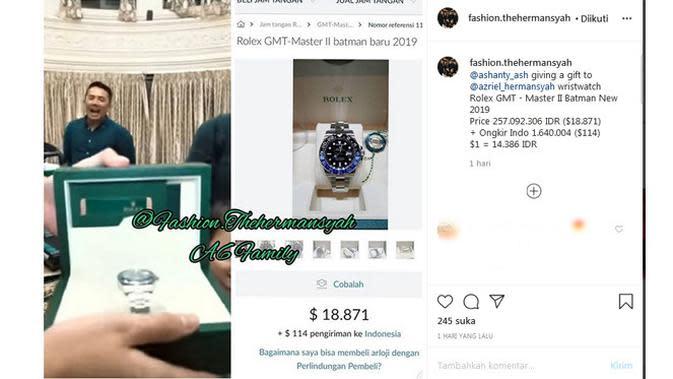 Seperti dilansir dari akun Instagram Fashion The Hermansyah pada Senin (29/6) lalu, Ashanty memberi jam tangan mewah Rolex dengan harga Rp257 juta. (Instagram/fashion.thehermansyah)