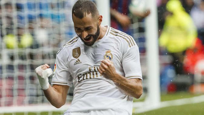 Selebrasi Karim Benzema ketika mencetak gol (Dok. La Liga)