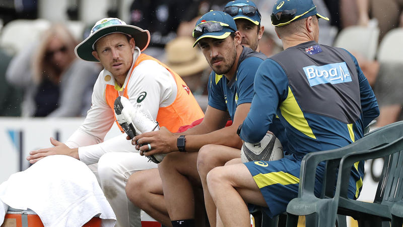 James Pattinson (L) has been put on ice for the second Ashes Test. (Photo by Ryan Pierse/Getty Images)