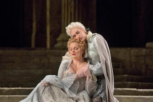 "This Nov. 7, 2012 photo provided by the Metropolitan Opera shows Lucy Crowe as Servilia and Kate Lindsey as Annino in a dress rehearsal of Mozart's ""La Clemenza di Tito,"" at the Metropolitan Opera in New York. (AP Photo/Metropolitan Opera, Ken Howard)"