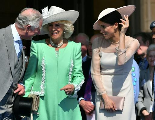 Britain's Prince Charles and his wife Britain's Camilla, Duchess of Cornwall (C), talk with Meghan, Duchess of Sussex during the Prince of Wales's 70th birthday party at Buckingham Palace