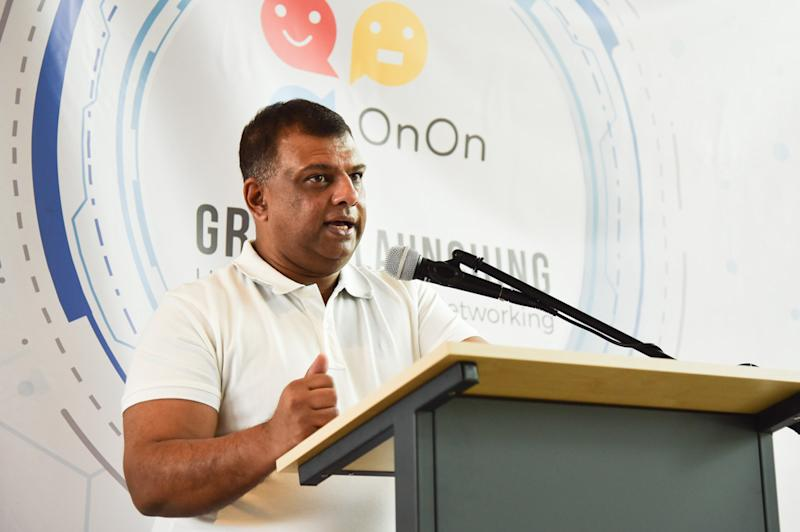 Tan Sri Tony Fernandes gives a speech during the launch of the OnOn smartphone app in Sepang October 21, 2019. — Picture courtesy of OnOn Tech