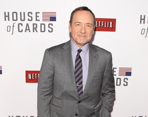 "FILE - This Jan. 29, 2013 file photo shows actor Kevin Spacey at the premiere of Netflix's first original series, ""House of Cards,"" in Washington. Spacey and Dana Brunetti will be honored with a Webby Special Achievement Award for their role in creating and producing the groundbreaking series. The ceremony will available to view in HD on Watch.WebbyAwards.com on Wednesday, May 22, 2013. (Photo by Paul Morigi/Invision/AP, File)"