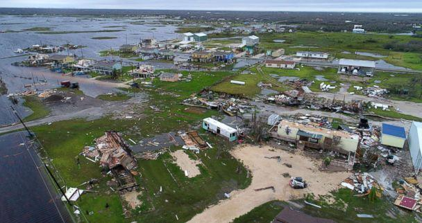 PHOTO: Buildings and mobile homes destroyed by Hurricane Harvey in Rockport, Texas, Aug. 27,. 2017. (Courtney Sacco and Matt Woolbright/Caller-Times via USA Today Network)