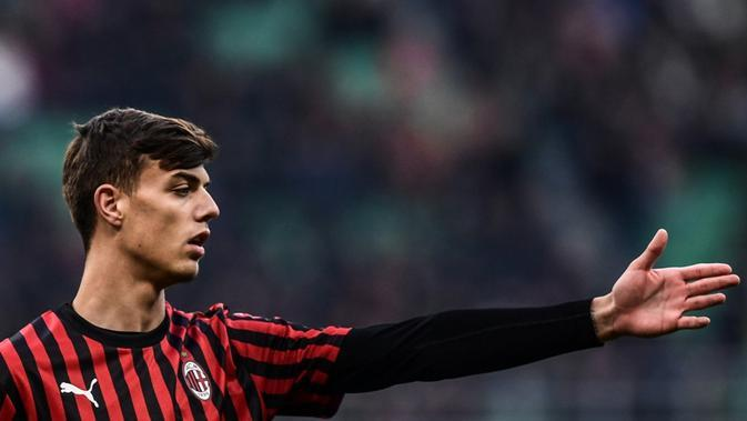 Gelandang AC Milan, Daniel Maldini, putra dari Paolo Maldini. (AFP/Miguel Medina)