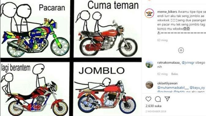Berbagai hal bisa dijadikan Meme menarik, tidak terkecuali yang berkaitan dengan otomotif. (Instagram @meme_bikers)
