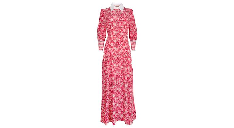 Calla Rose Red Floral Shirt Dress
