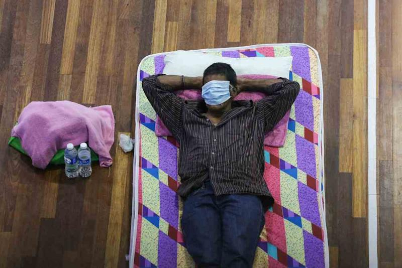 A man catches a wink at the temporary shelter in Kuala Lumpur April 1, 2020. ― Picture by Yusof Mat Isa