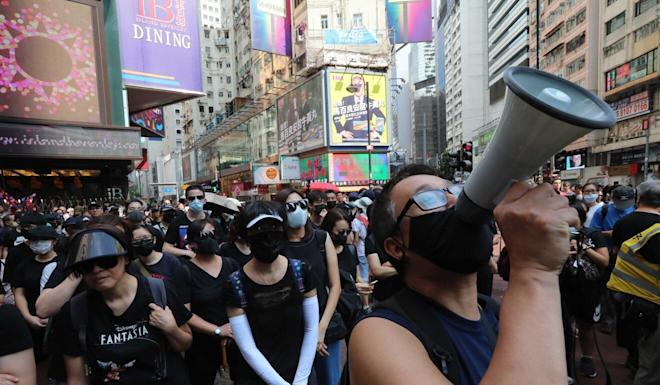 Protesters at a demonstration against the government's mask ban in Hong Kong on October 5, 2019. Photo: Felix Wong