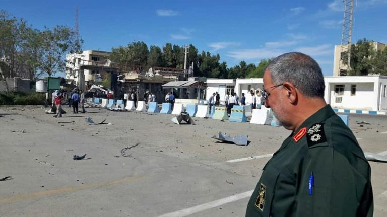 The commander of the Islamic Revolution Guards Corps ground forces, Brigadier General Mohammad Pakpour, visits the scene of Thursday's attack