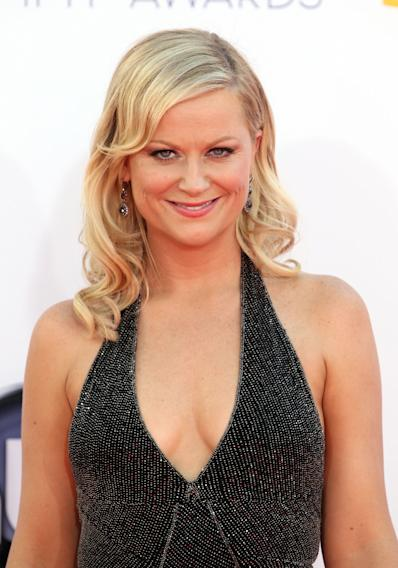 Amy Poehler arrives at the 64th Primetime Emmy Awards at the Nokia Theatre on Sunday, Sept. 23, 2012, in Los Angeles. (Photo by Matt Sayles/Invision/AP)