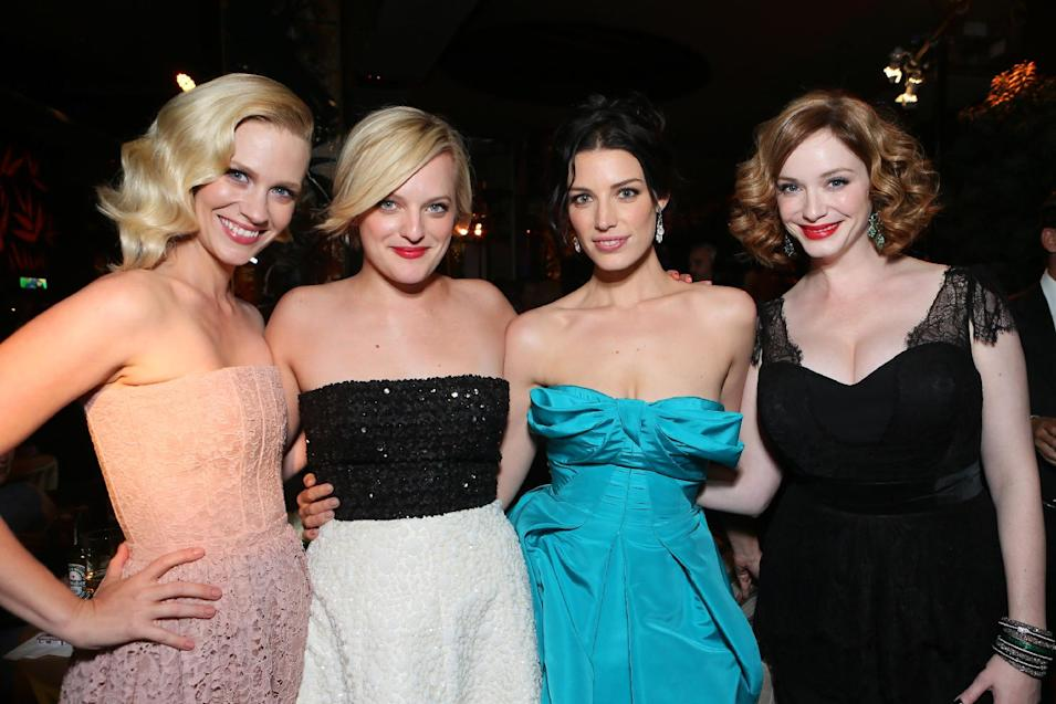 IMAGE DISTRIBUTED FOR AMC - From left, January Jones, Elisabeth Moss, Jessica Pare, and Christina Hendricks attend the AMC, IFC, Sundance Channel Emmy After Party, on Sunday, September 22, 2013 in West Hollywood, Calif. (Photo by Alexandra Wyman/Invision for AMC/AP Images)