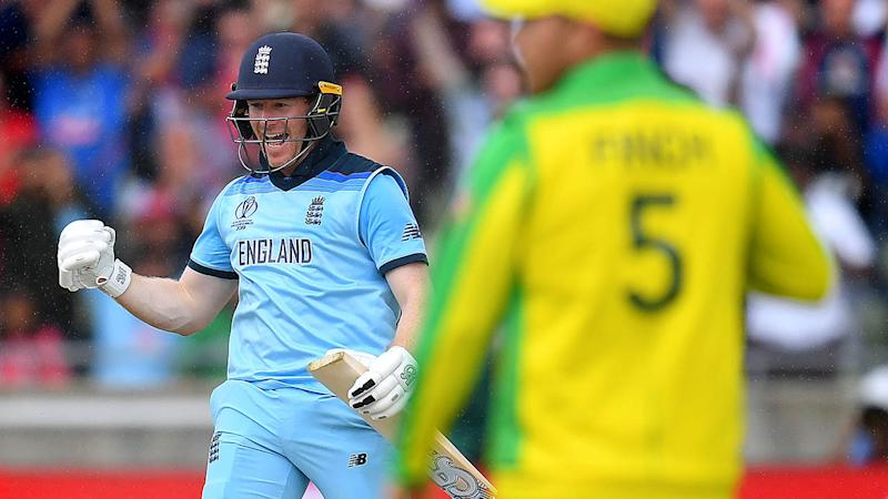 Eoin Morgan celebrates as he scores the winning runs against Australia. (Photo by Clive Mason/Getty Images)