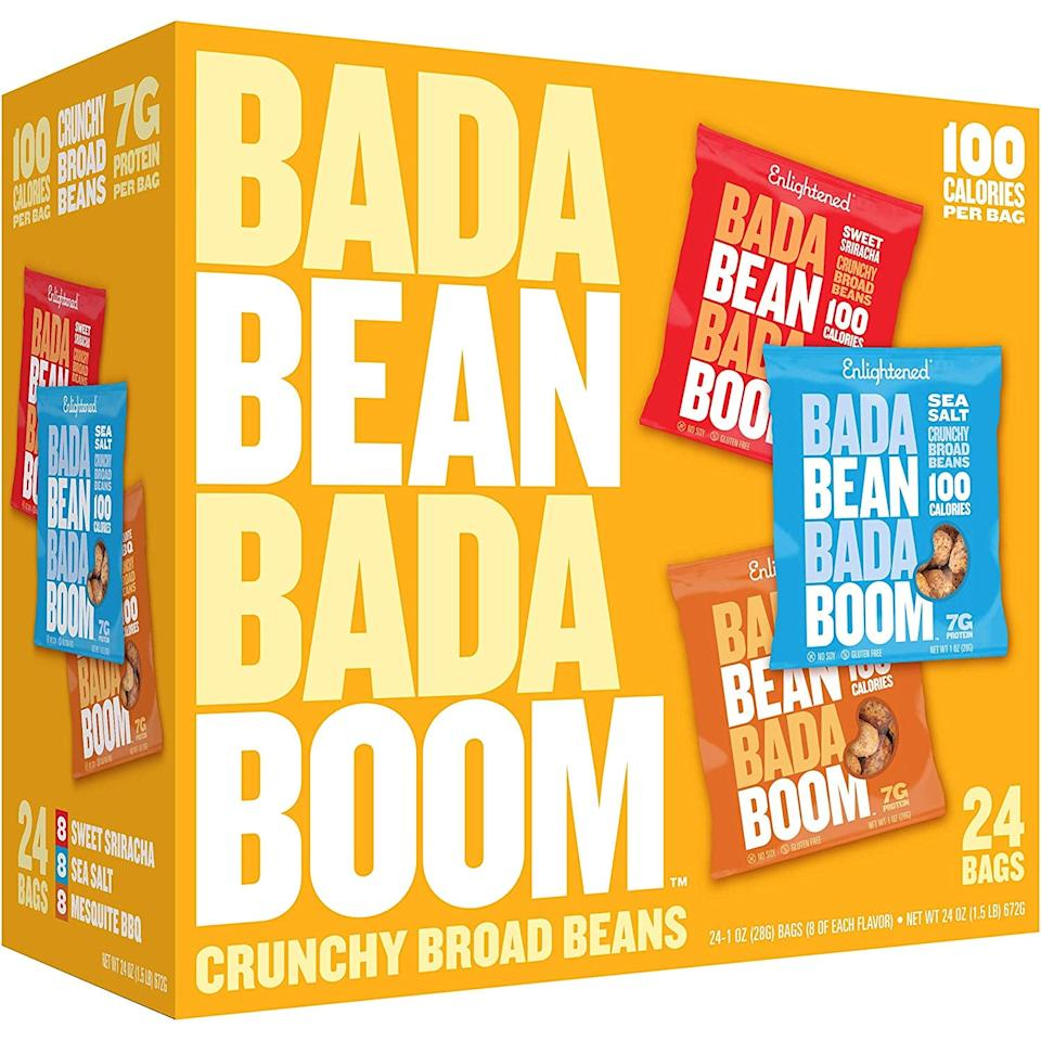 """<p>These <a href=""""https://www.popsugar.com/buy/Enlightened-Bada-Bean-Bada-Boom-Roasted-Broad-Fava-Bean-Snacks-547420?p_name=Enlightened%20Bada%20Bean%20Bada%20Boom%20Roasted%20Broad%20Fava%20Bean%20Snacks&retailer=amazon.com&pid=547420&price=18&evar1=fit%3Aus&evar9=45874267&evar98=https%3A%2F%2Fwww.popsugar.com%2Ffitness%2Fphoto-gallery%2F45874267%2Fimage%2F47188962%2FEnlightened-Bada-Bean-Bada-Boom-Roasted-Broad-Fava-Bean-Snacks&list1=shopping%2Camazon%2Chealthy%20snacks%2Csnacks&prop13=mobile&pdata=1"""" rel=""""nofollow"""" data-shoppable-link=""""1"""" target=""""_blank"""" class=""""ga-track"""" data-ga-category=""""Related"""" data-ga-label=""""https://www.amazon.com/Enlightened-Plant-based-Protein-Non-GMO-Roasted/dp/B017VUE7GE/ref=sr_1_41?keywords=healthy+snacks&amp;qid=1581029680&amp;sr=8-41"""" data-ga-action=""""In-Line Links"""">Enlightened Bada Bean Bada Boom Roasted Broad Fava Bean Snacks</a> ($18) come in so many different flavors, and we're partial to the Sriracha flavor.</p>"""
