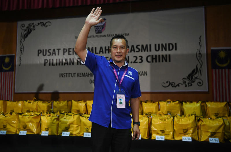 Barisan Nasional candidate Mohd Sharim Md Zain celebrates his victory for winning the Chini seat by-election at the official polling centre at the Institut Kemahiran Belia Negara, Pekan July 4, 2020. — Bernama pic
