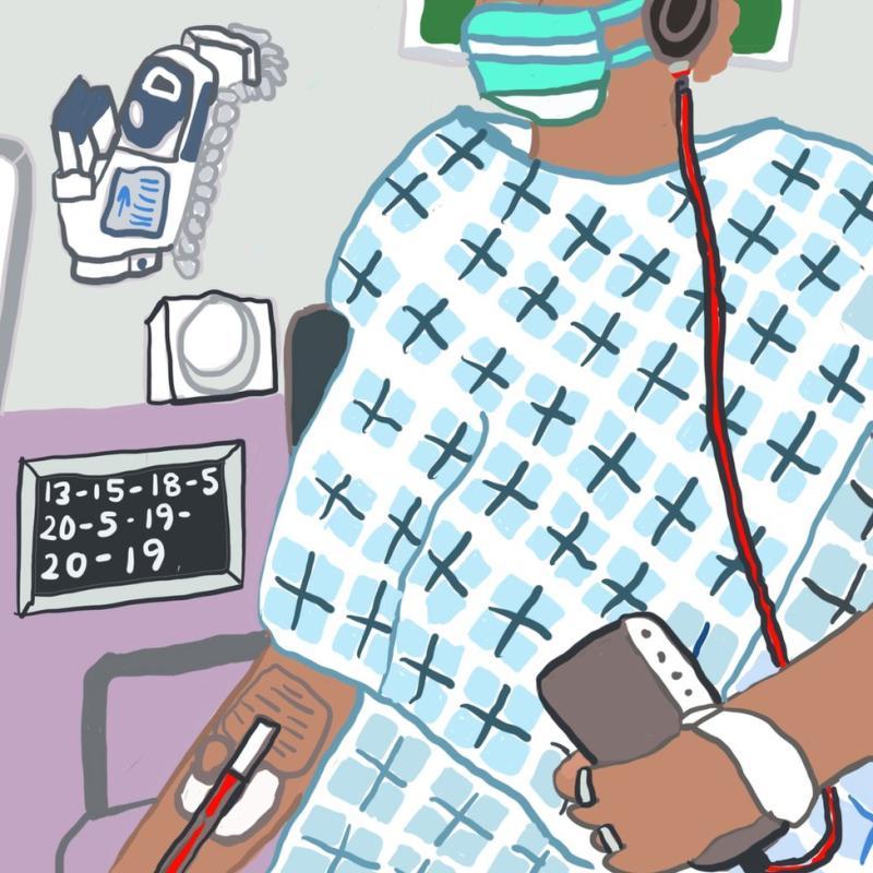 Monique di rumah sakit dengan infus