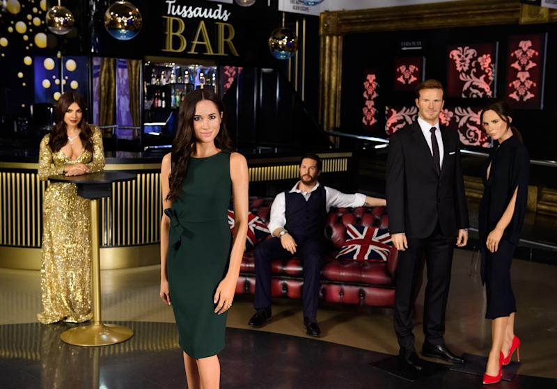 Handout photo issued by Madame Tussauds of the wax figure of the Duchess of Sussex mingling with showbiz pals, Priyanka Chopra Jonas, Tom Hardy and the Beckhams in Madame Tussauds London [Photo: PA]