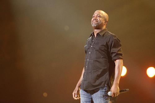 This image released by NBC Universal shows country singer Darius Rucker during the Healing in the Heartland: Relief Benefit Concert at the Chesapeake Energy Arena in Oklahoma City, Okla., Wednesday, May 29,2013. Funds raised by the benefit will go to the United Way of Central Oklahoma, for recovery efforts for those affected by the May 20 tornado. (AP Photo/NBC, Brett Deering)