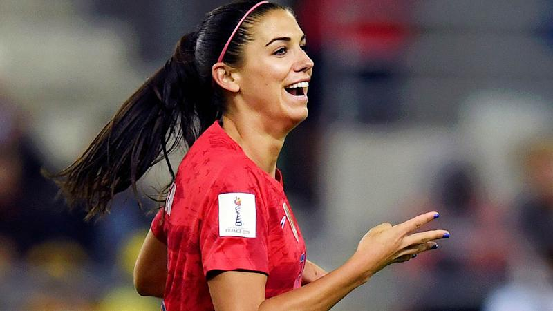 Alex Morgan celebrates scoring her team's tenth goal. (Photo by Alex Caparros - FIFA/FIFA via Getty Images)