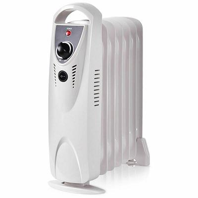 Portable Home Electric Fan Heater White Oil Filled Heater Mini Handy Heater