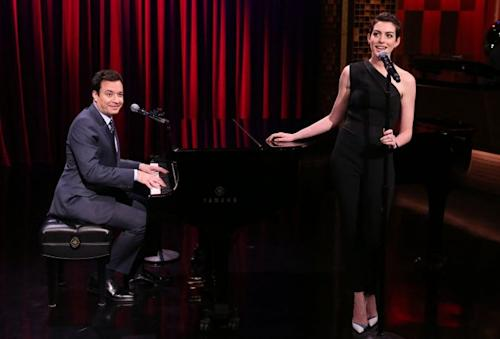Jimmy Fallon and Anne Hathaway sing in the 'Broadway Rap' skit on April 8, 2014 -- NBC