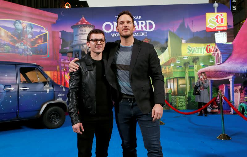 "FILE PHOTO: Cast members Holland and Pratt pose at the premiere for the film ""Onward"" in Los Angeles"