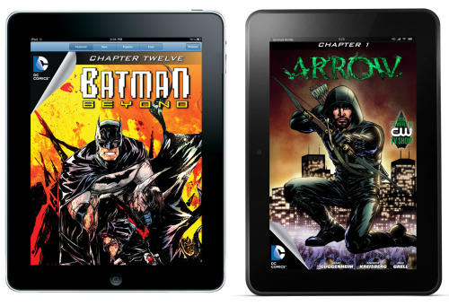 """This combo made from product images provided by DC Entertainment shows a digital issue of """"Batman Beyond"""" as seen on an iPad, and a digital issue of """"Arrow"""" as seen on a Kindle Fire HD. In a nod to the expanding reach of tablets like iPads, Kindles and Nooks, DC Entertainment says it has begun selling all of its monthly comic book titles through e-stores operated by Apple, Amazon and Barnes & Noble. The move comes as comic book publishers increasingly embrace digital platforms as they attempt to augment print sales in traditional comic book shops and stores by making it easier for first-time and casual buyers to buy and read comics instantly. (AP Photo/DC Entertainment)"""