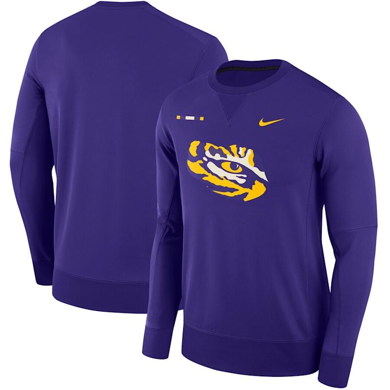LSU Tigers Nike 2017 Sideline Performance Crew Sweatshirt