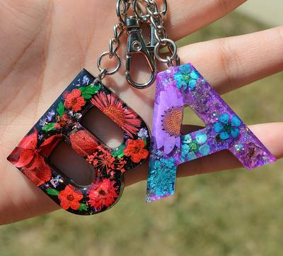 Purple Flower Letter Keychain