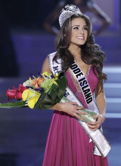 Miss Rhode Island Olivia Culpo looks toward the audience after being crowned Miss USA during the 2012 Miss USA pageant, Sunday, June 3, 2012, in Las Vegas. (AP Photo/Julie Jacobson)