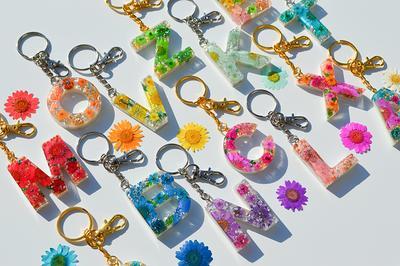 Rainbow Flower Floral Resin Keychain Alphabet keychain initial keyring Japanese design