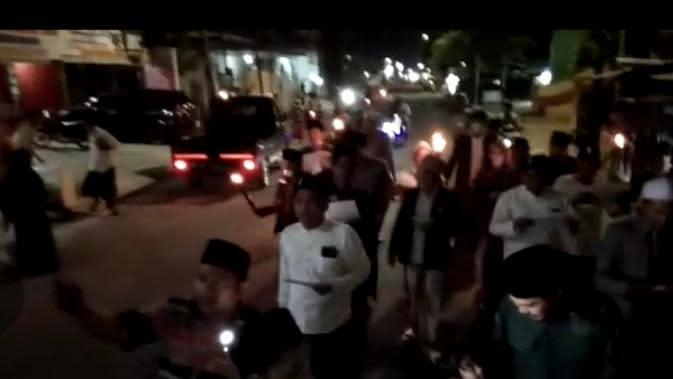 Suasana Burdah keliling cegah corona yang digelar PKB dan PAC GP Ansor Bangkalan