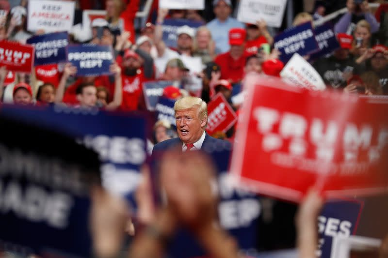 U.S. President Donald Trump speaks at a campaign rally in Charlotte