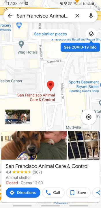 Screenshot of Google Maps on mobile, showing a dropped pin on San Francisco Animal Care and Control