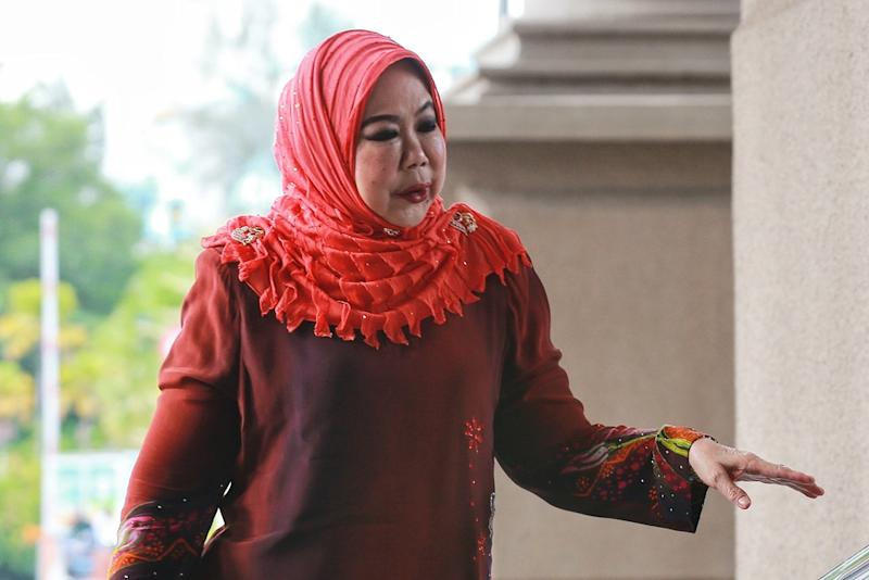 Former auditor-general Tan Sri Madinah Mohamad arrives at the Kuala Lumpur High Court February 18, 2020. ― Picture by Ahmad Zamzahuri