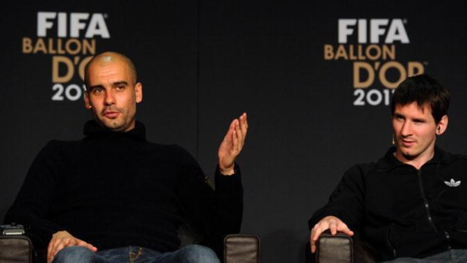 Josep Guardiola (kiri) bersama Lionel Messi (kanan). (AFP/Franck Fife)