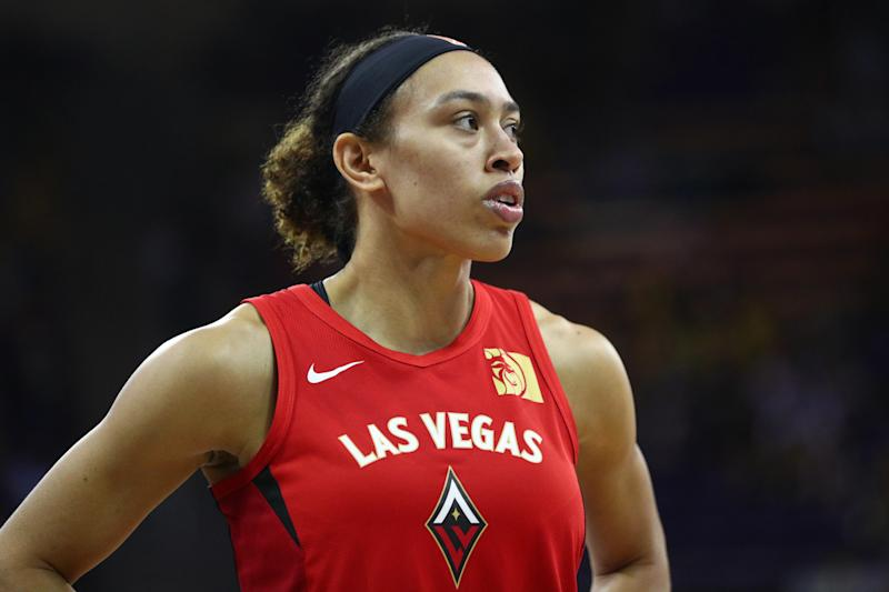 SEATTLE, WASHINGTON - JULY 19: Dearica Hamby #5 of the Las Vegas Aces reacts against the Seattle Storm in the first quarter during their game at Alaska Airlines Arena on July 19, 2019 in Seattle, Washington. NOTE TO USER: User expressly acknowledges and agrees that, by downloading and or using this photograph, User is consenting to the terms and conditions of the Getty Images License Agreement. Mandatory Copyright Notice: Copyright 2019 NBAE (Photo by Abbie Parr/Getty Images)