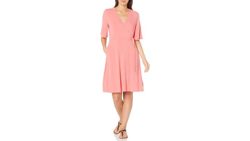 Amazon Essentials Women's Kimono Sleeve Faux Wrap Dress. (Photo: Amazon)