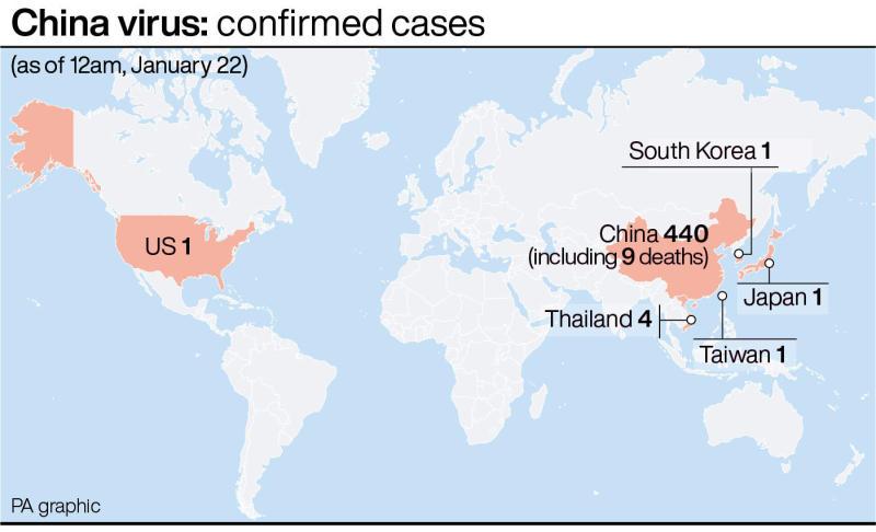 Coronavirus confirmed cases (PA Graphics)