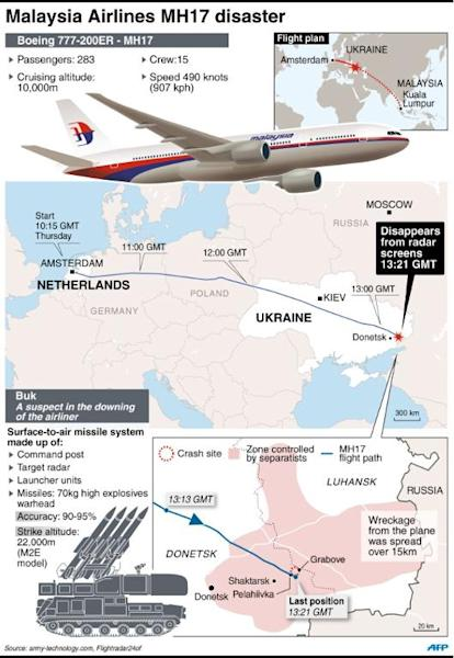 Map showing where the Malaysia Airlines plane downed in east Ukraine
