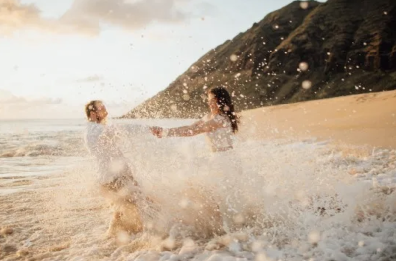 The pair didn't let the water dampen their fun. Photo: Sunny Golden